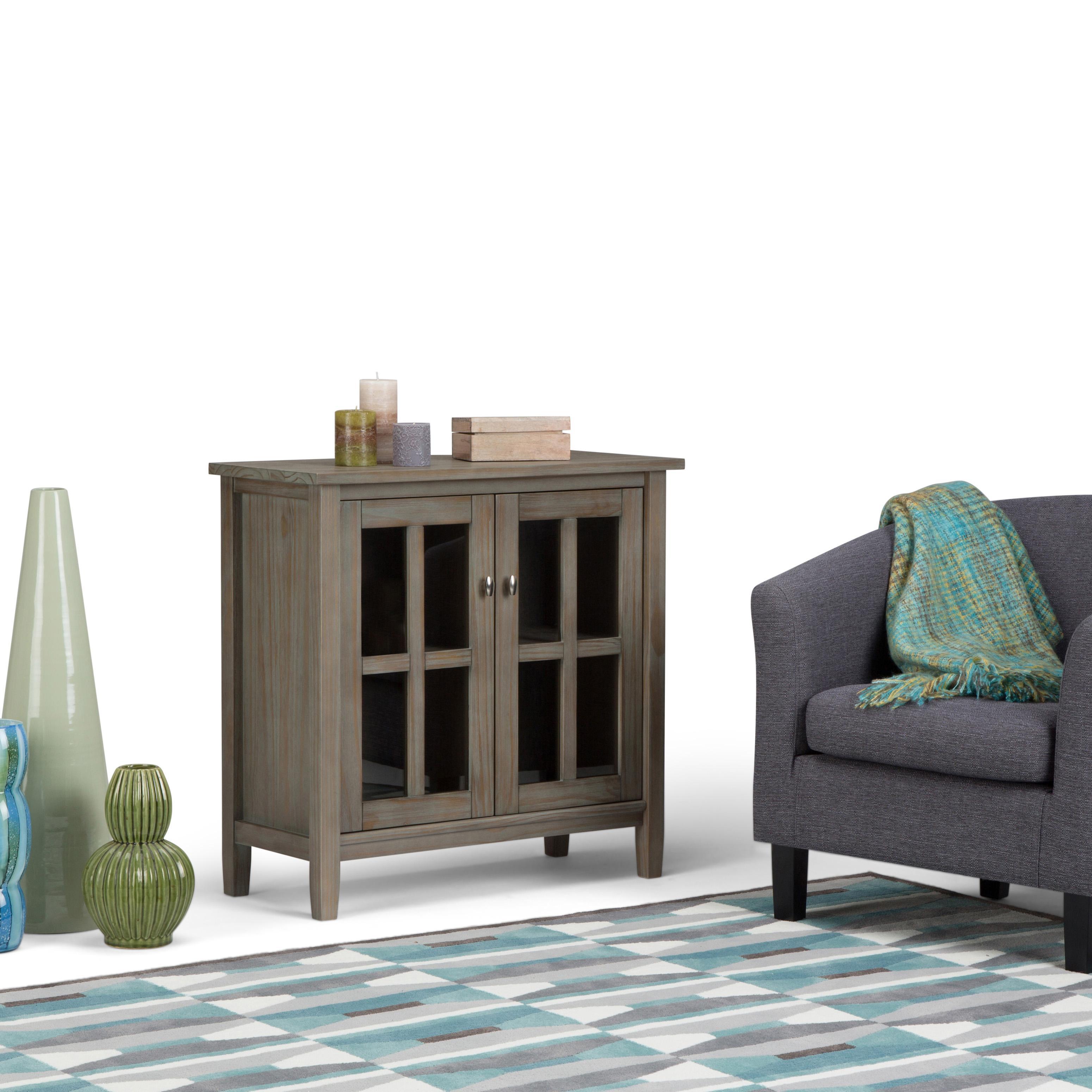 simpli home warm shaker solid wood low storage cabinet distressed grey kitchen. Black Bedroom Furniture Sets. Home Design Ideas