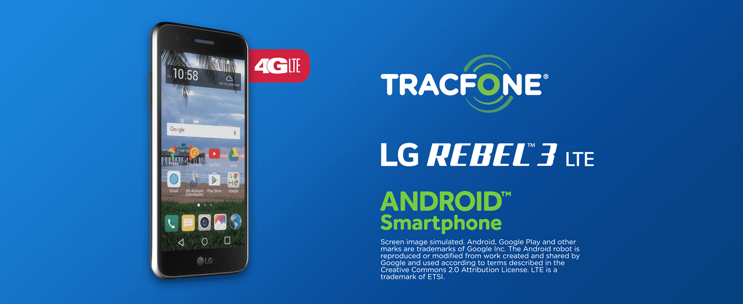 TracFone LG Rebel 3 4G LTE Prepaid Smartphone