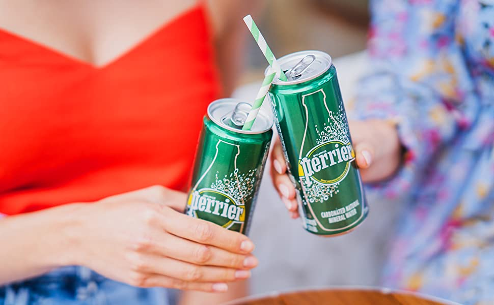 Perrier Sparkling Natural Mineral Water 330ml Slim Can Lifestyle Image
