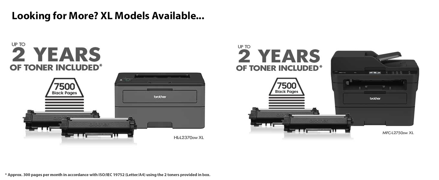 Brother Compact Monochrome Laser Printer, HLL2395DW, Flatbed Copy & Scan,  Wireless Printing, NFC, Cloud-Based Printing & Scanning, Amazon Dash