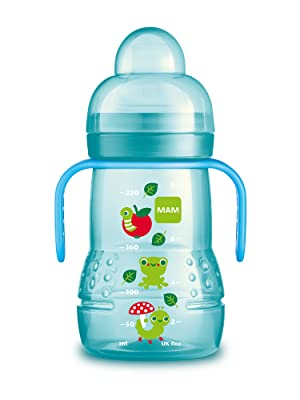 mam, baby, trainer, training bottle, bottle, sippy cup, handles, blue, boy