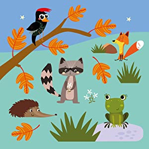 Illustration example from the Animal Friends series showing a bird, fox, racoon, hedgehog and a frog