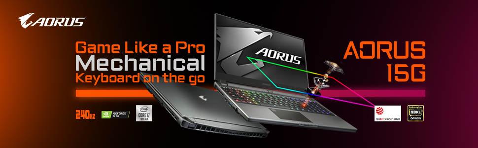 AORUS Gaming Laptop; Mechanical Keyboard; AORUS 15G; AORUS 10th Gen CPU;Pro Gaming; AORUS laptop