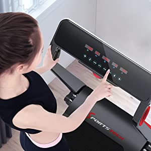 Sportstech Tapis de Course F17, Console futuriste, 3PS, système Lubrification Ceinture Cardio