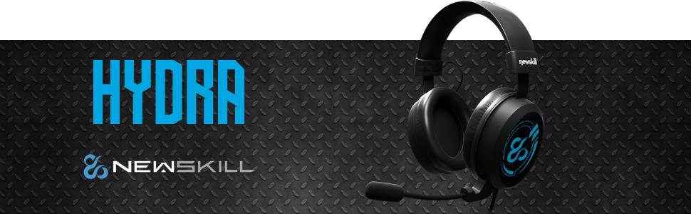 Newskill Hydra - Auriculares gaming rretroiluminados (Retroiluminación azul, sonido estereo premium)