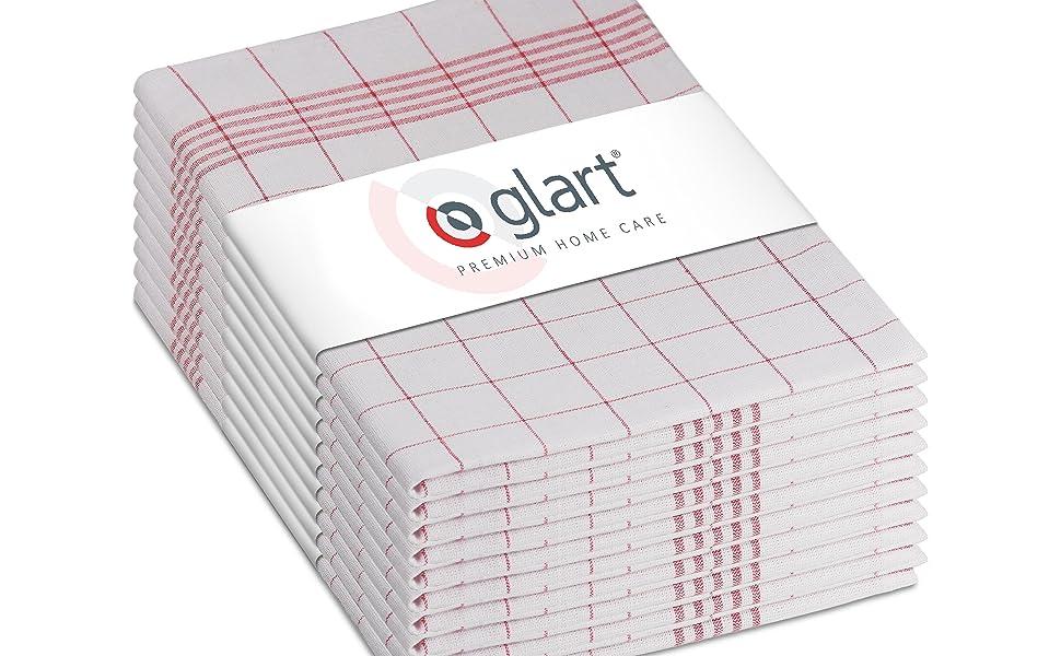 Glart Pack de paños, Algodón, Rojo/Blanco, Talla única, 10: Amazon.es: Hogar