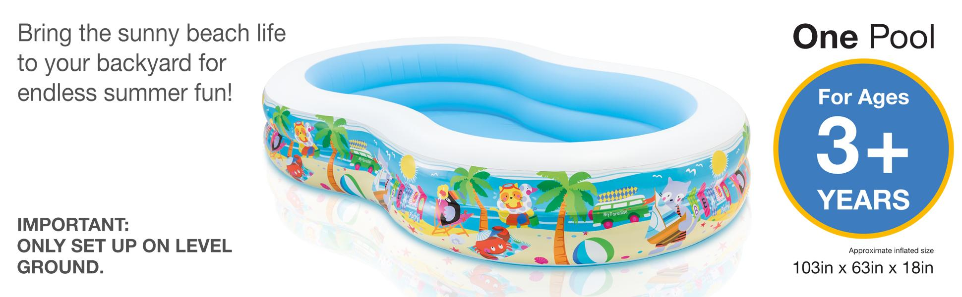 Intex Swim Center Paradise Inflatable Pool 103 Quot X 63 Quot X
