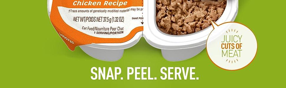 Snap, Peel, Serve, Chicken Recipe, Juicy Cuts of Meat, Cuts in Gravy, Wet Cat Food Tray, Easy Peel
