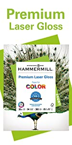 Pack of Hammermill Premium Laser Gloss 32 lb letter size paper, 300 sheets, Made in USA.