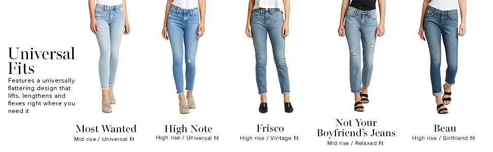 SILVER JEANS CO WOMENS JEANS UNIVERSAL FITS