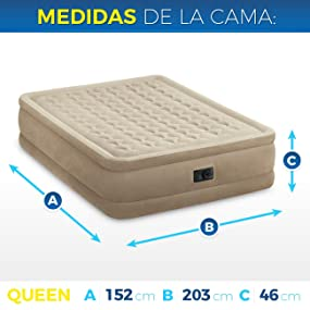 Intex 64458 - Colchón hinchable Dura-Beam Plus UltraPlush 152 x 203 x 46 cm