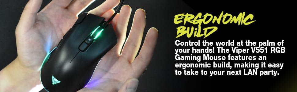 Viper Gaming V551 ergonomic RGB mouse mice pc computer gamer optical peripherals accessories DPI