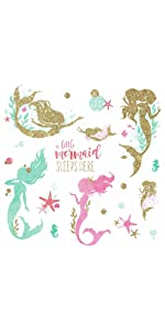 peel and stick wall decals, mermaid peel and stick wall decals