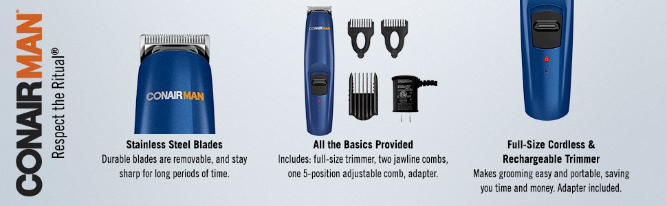 ConairMAN beard trimmer, mustache trimmer, cordless, rechargeable, stainless steel blades, trimmer