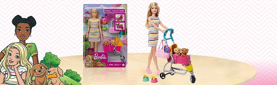 Barbie Conjunto de juego y muñeca Barbie con muñeca rubia 2 cachorros regalo para niñas
