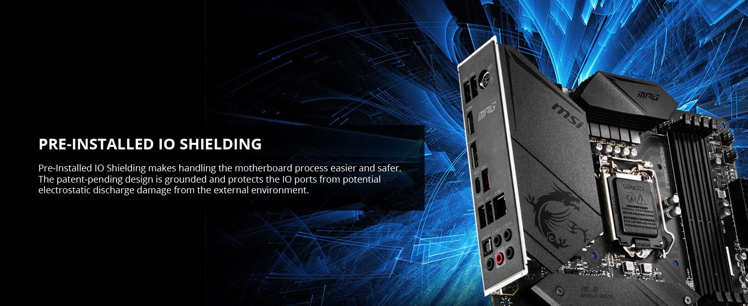 msi, mpg z490 gaming plus, preinstalled io shielding, pre installed rear io, back panel