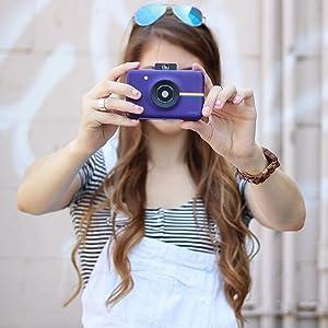 purple snap Polaroid camera