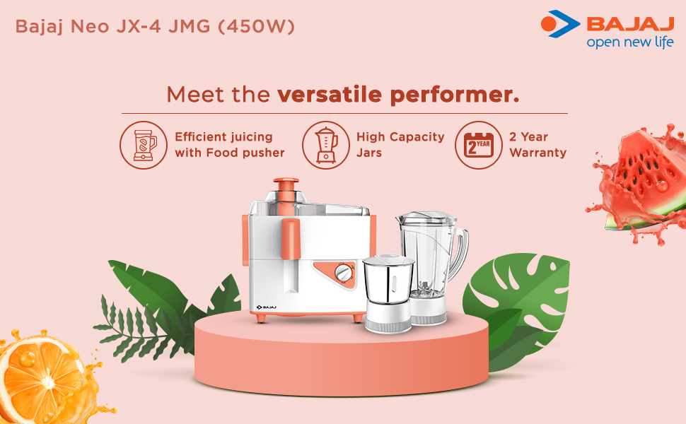 B07DMM41W1- Bajaj Neo JX4 450-Watt Juicer Mixer Grinder with 2 Jars (White/Orange)- SPN FOR-1