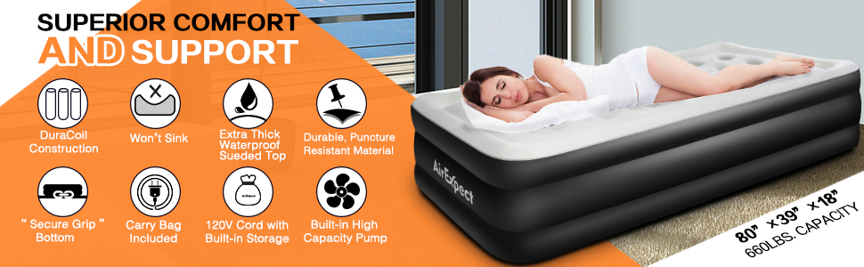 Twin Air Mattress with Built-in Pump - AirExpect Inflatable Mattress Double High Elevated Raised Airbed Blow up Bed for Guests with Comfortable Quilt ...