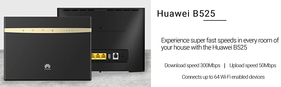 Huawei B525- 4G 300Mbps mobile WiFi Router, unlocked to all networks  -Genuine UK Warranty stock- (non network logo)- Black