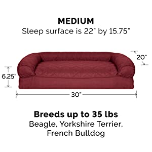 dog; cat; bed; sofa; couch; wine red; medium