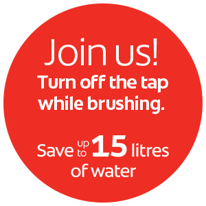 turn off the tap while brushing. save up to 15 litres of water