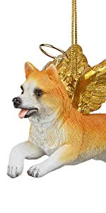 Design Toscano Honor the Pooch: Welsh Corgi Holiday Dog Angel Ornament