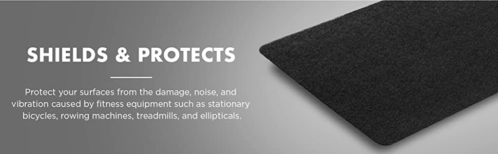 Fitness equipment mat protects and shields hard surfaces and floors