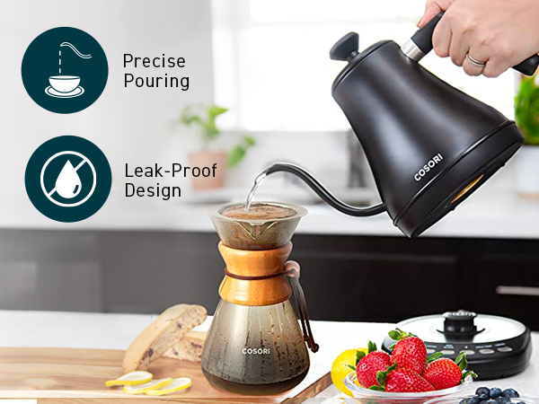 Use the gooseneck kettle with a Cosori Pour-Over Coffee Maker to get the most out of your coffee.