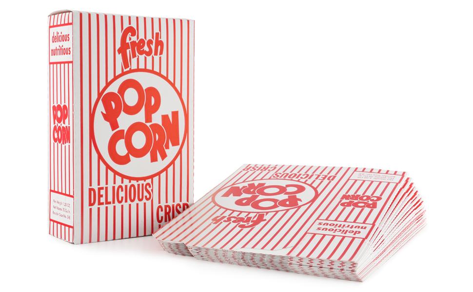 Snappy 3-E Red amp; White Close Top Popcorn Box