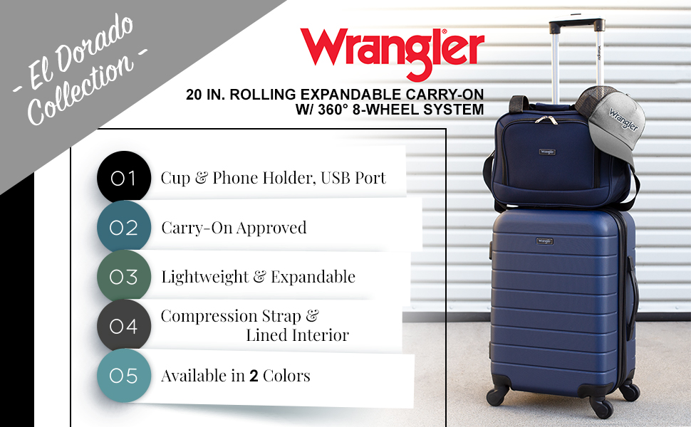wrangler, el dorado collection, phone holder, cup holder, USB port, carry-on, lightweight, travel