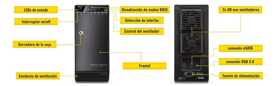 Fantec QB-X8US3R - Carcasa externa RAID para 8 discos duros de 8,9 cm (3.5 pulgadas). SATA I/II/III. con supervelocidad USB 3.0 y conexión eSATA, ...