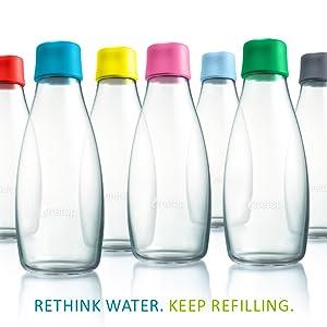 Amazon.com: Retap Botella de agua de vidrio de borosilicato ...