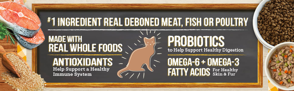 Tasty ingredients, kibble in dishes and drawing of a cat. First ingredient is real, deboned meat,