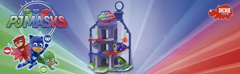 Cuartel general 3 niveles de PJ Mask con coche Gatuno (Simba 3145000)