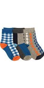 Jefferies Socks Boys' Little Boys' Gingham/Color Block/Argyle Crew 3 Pack
