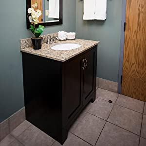 Nicole Double Bathroom Vanity with tobacco finish, square undermounted  ceramic basins, 4 soft close drawers, cultured marble countertop.