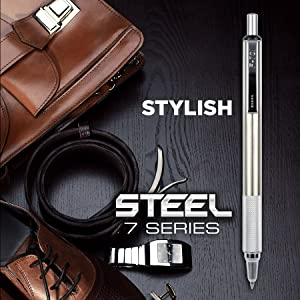 zebra steel 7 series, stainless steel pens, zebra pen, executive pen, stylish mechanical pencil