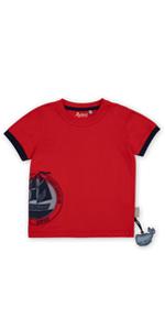 Camiseta de verano para niños pequeños, color rojo y azul oscuro, adecuada para guardería.