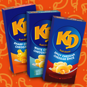 KD, Kraft Dinner mac and cheese, spicy mac and cheese, flavoured mac and cheese, macaroni