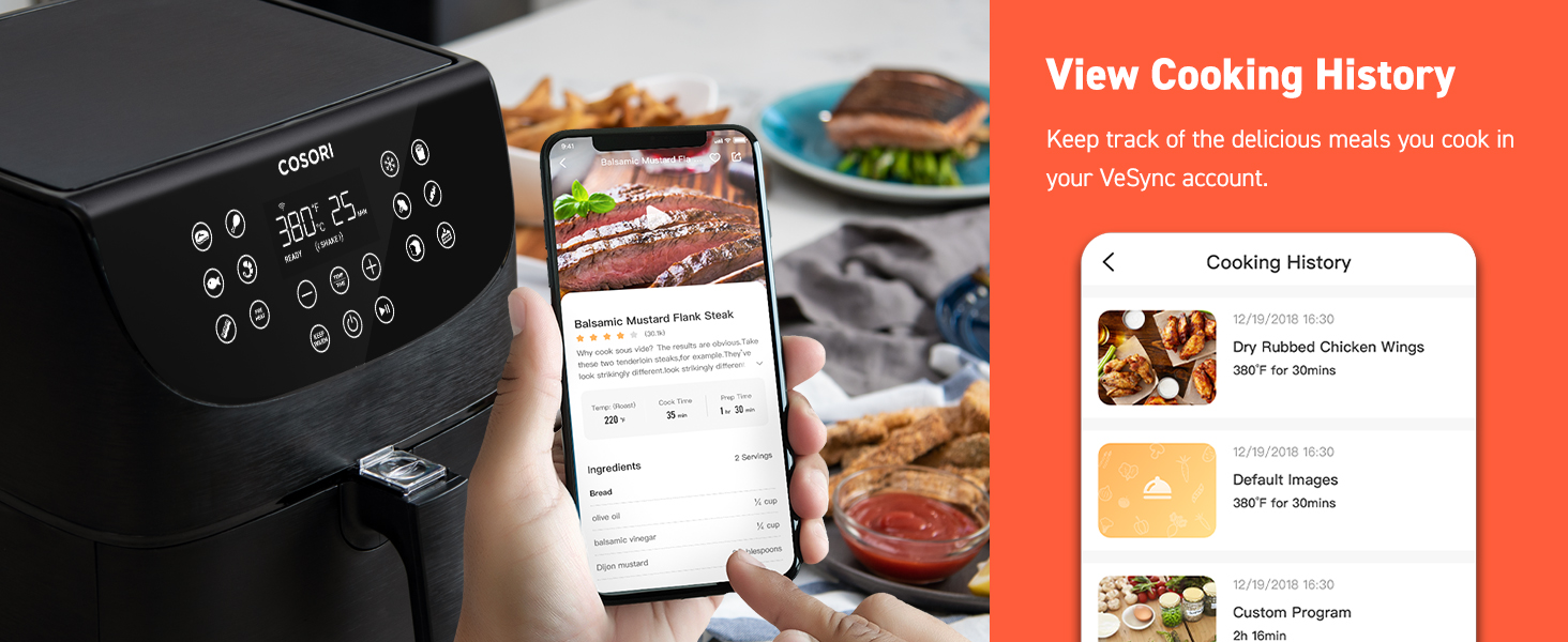 keep track of the delicious meals you cook in your VeSync account  dry rubbed chicken wings