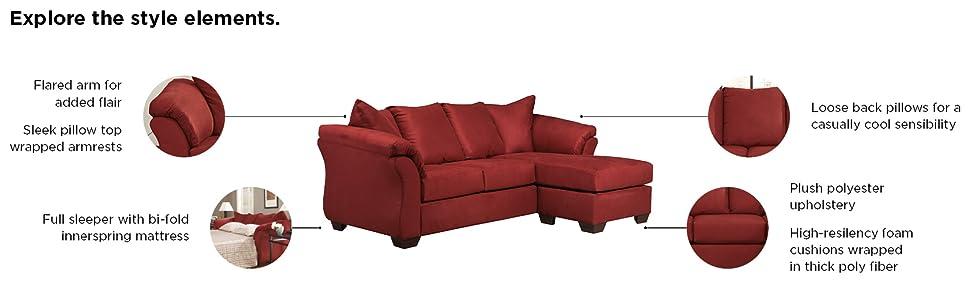 Signature Design by Ashley - Darcy Microfiber Sofa Chaise, Salsa Red
