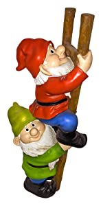 Design Toscano Échelle d'Escalade pour Gnomes Statue de Jardin de Gnome Drôle, 28 cm, polyrésine