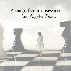 A woman standing on a chess board under the quote A MAGNIFICENT OBSESSION