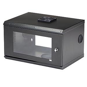 Startech Com 6u Wall Mount Network Cabinet W Lockable Door And Fan For 19in Server Room Av Data Equipment 14 7in Deep 100 Lb Capacity Rk619wall Black Electronics