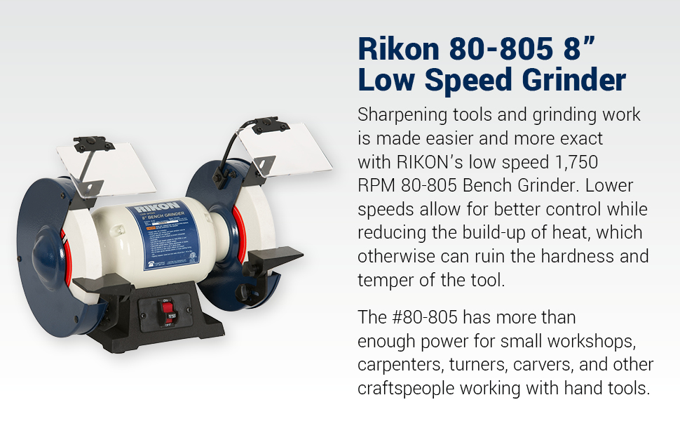 Amazing Rikon Professional Power Tools 80 805 8 Slow Speed Bench Grinder Powerful Shop Table Tool Perfect For Sharpening With Anti Vibration Rubber Feet Bralicious Painted Fabric Chair Ideas Braliciousco