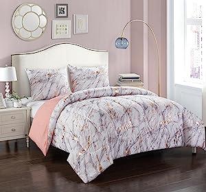 pop shop marble comforter set full queen rose gold home kitchen. Black Bedroom Furniture Sets. Home Design Ideas