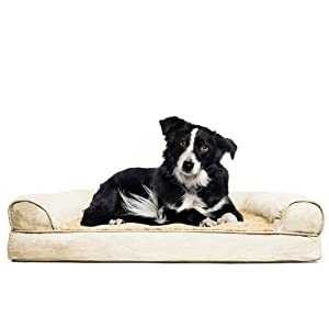 furhaven plush orthopedic sofa pet bed for dogs and cats large clay