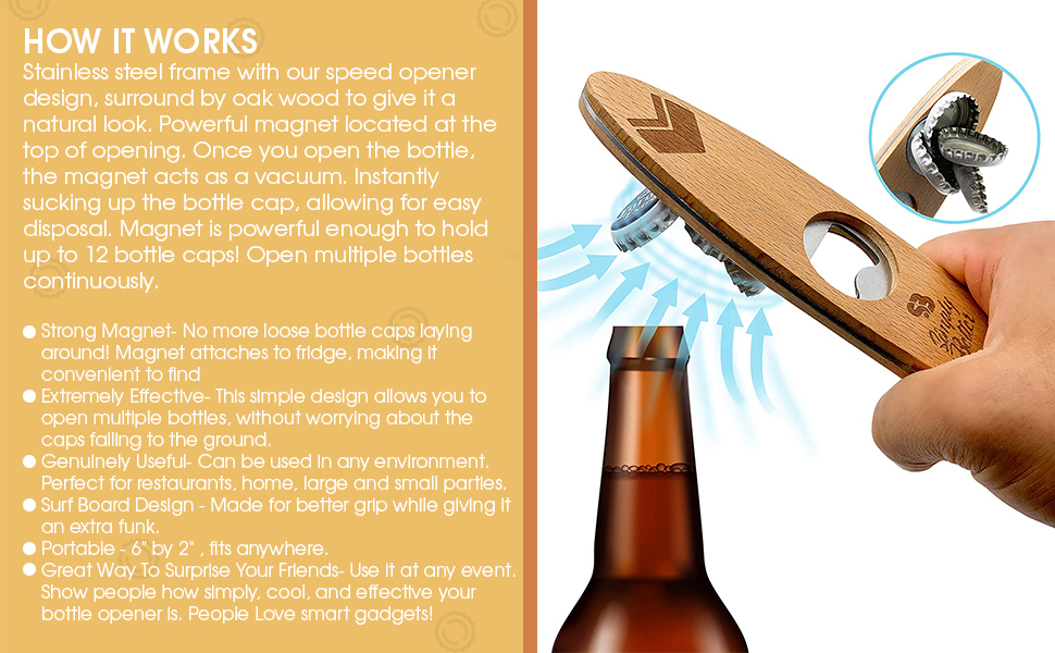 2PCS Stainless Steel Can Opener Punch Bottle Beer Opener with Wood Handle