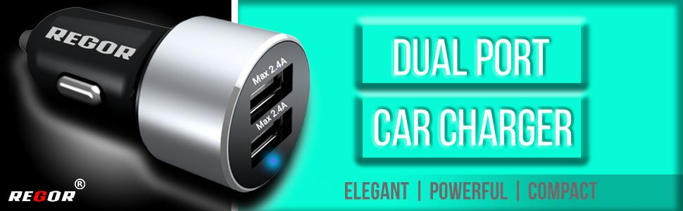 regor, car charger, fast charger, dual port, regor charger, cable car charger, car mobile charger